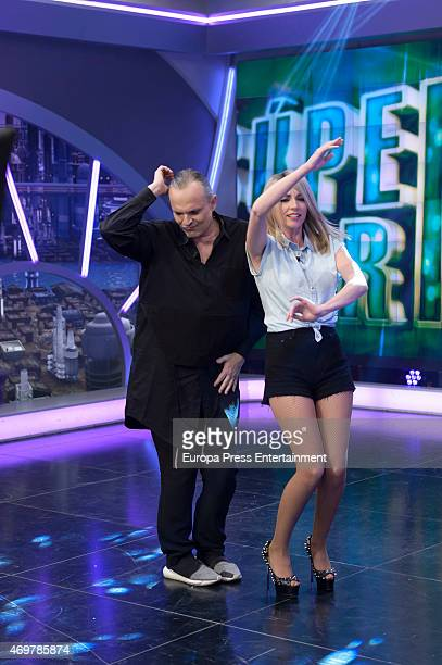 Anna Simon and Miguel Bose attend 'El Hormiguero' Tv Show on April 14 2015 in Madrid Spain