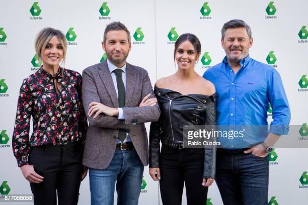 Anna Simon Frank Blanco Cristina Pedroche and Miki Nadal attend the 'Zapeando' 1000 programmes press conference at 'Atresmedia' studios on November...