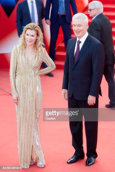 Anna Skidanova and Moscow mayor Sergei Sobyanin attend an opening ceremony of the 38th Moscow International Film Festival at Pushkinsky cinema hall...