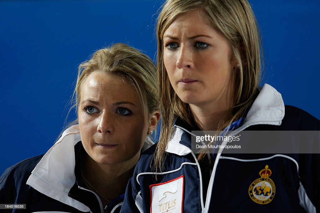 Anna Sloan (L) and Eve Muirhead of Scotland watch Sweden play a shot during the Gold medal match between Sweden and Scotland on Day 9 of the Titlis Glacier Mountain World Women's Curling Championship at the Volvo Sports Centre on March 24, 2013 in Riga, Latvia.