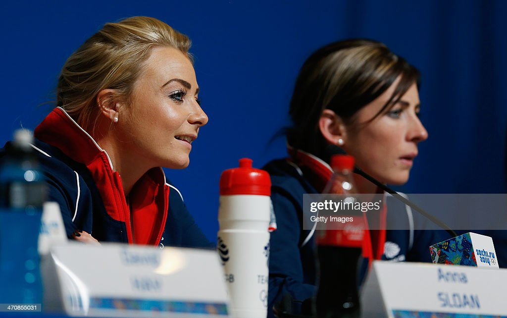 Anna Sloan (L) and Eve Muirhead of the Great Britain Curling team speak with the media during a press conference after Team GB won the bronze medal on day 13 of the Sochi 2014 Winter Olympics at the Main Press Center (MPC) on February 20, 2014 in Sochi, Russia.