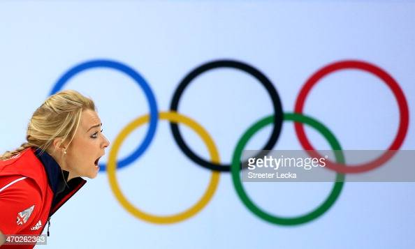 Anna Sloan of Great Britain in action against Canada during the women's curling semifinals at Ice Cube Curling Center on February 19 2014 in Sochi...