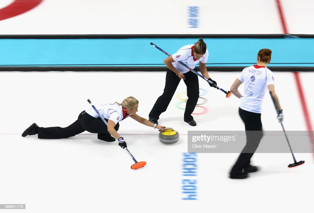 <a gi-track='captionPersonalityLinkClicked' href=/galleries/search?phrase=Anna+Sloan&family=editorial&specificpeople=7577274 ng-click='$event.stopPropagation()'>Anna Sloan</a> of Great Britain in action during the Curling Round Robin match between Canada and Great Britain during day five of the Sochi 2014 Winter Olympics at Ice Cube Curling Center on February 12, 2014 in Sochi, Russia.