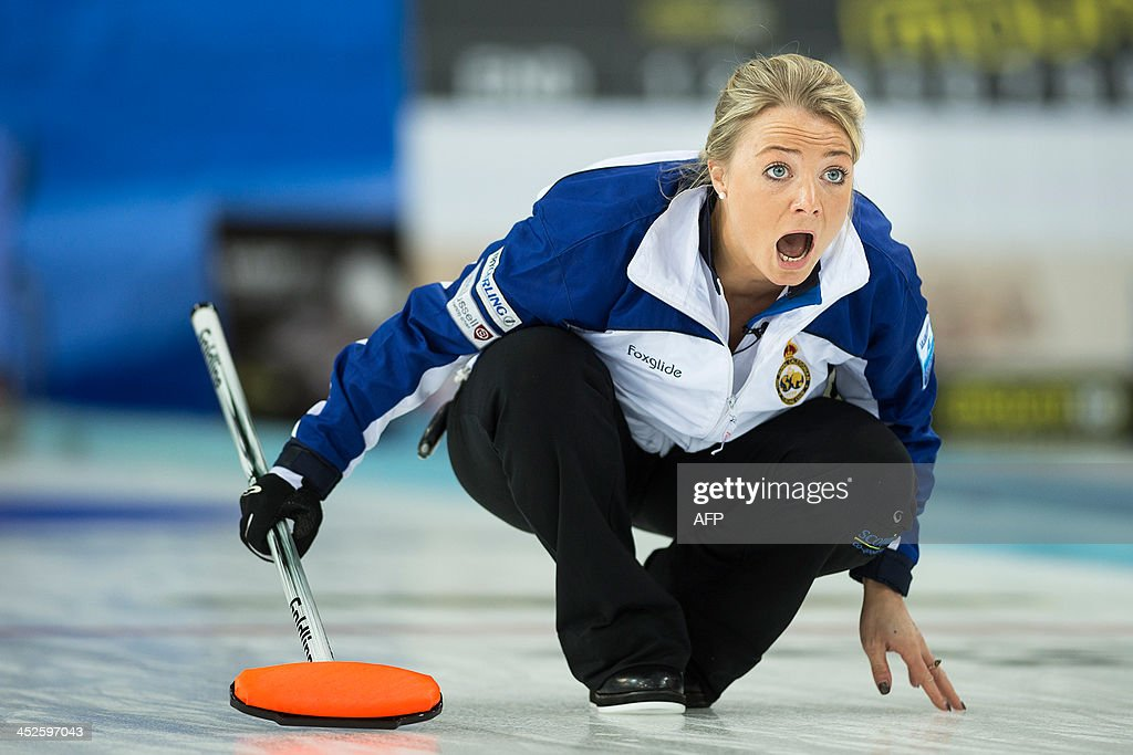 Anna Sloan of Scotland in action against team Sweden during women`s final of the European Curling Championships in Stavanger Norway on November 30...