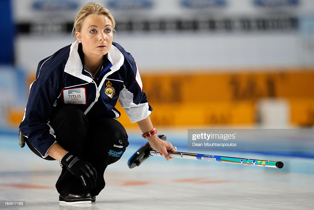 Anna Sloan of Scotland looks on during the Gold medal match between Sweden and Scotland on Day 9 of the Titlis Glacier Mountain World Women's Curling Championship at the Volvo Sports Centre on March 24, 2013 in Riga, Latvia.