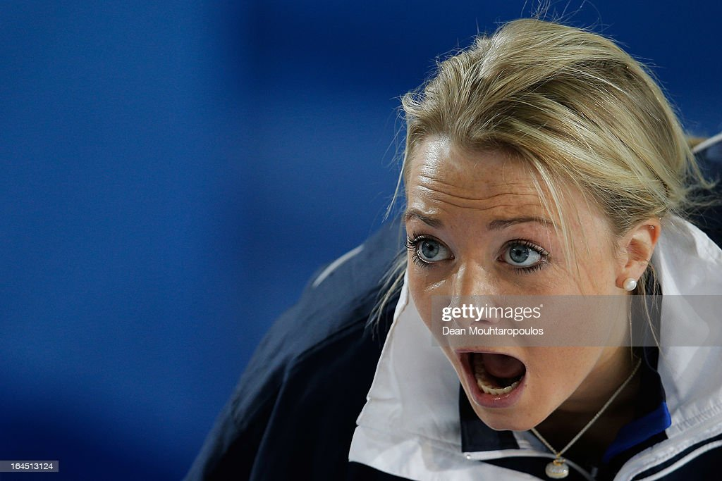 Anna Sloan of Scotland screams instructions to team mates during the Gold medal match between Sweden and Scotland on Day 9 of the Titlis Glacier Mountain World Women's Curling Championship at the Volvo Sports Centre on March 24, 2013 in Riga, Latvia.