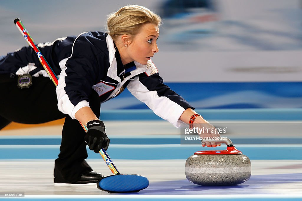 Anna Sloan of Scotland throws a stone during the Semi Final match between Scotland and Canada on Day 8 of the Titlis Glacier Mountain World Women's...