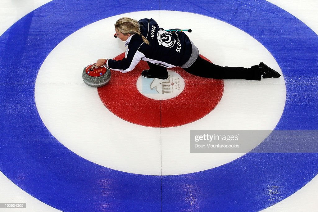 Anna Sloan of Scotland throws the stone in the match between Japan and Scotland during Day 3 of the Titlis Glacier Mountain World Women's Curling Championship at the Volvo Sports Centre on March 18, 2013 in Riga, Latvia.