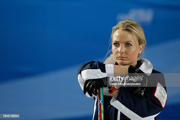 Anna Sloan of Scotland watches Sweden play a shot during the Gold medal match between Sweden and Scotland on Day 9 of the Titlis Glacier Mountain...