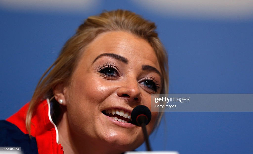Anna Sloan of the Great Britain Curling team speaks with the media during a press conference after Team GB won the bronze medal on day 13 of the Sochi 2014 Winter Olympics at the Main Press Center (MPC) on February 20, 2014 in Sochi, Russia.