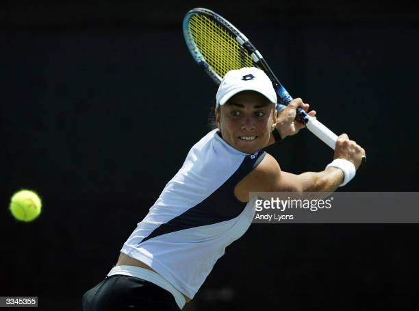 Anna SmashnovaPistolesi of Israel hits a return during her match against Yuka Yoshida of Japan on April 13 2004 during the Family Circle Cup at the...