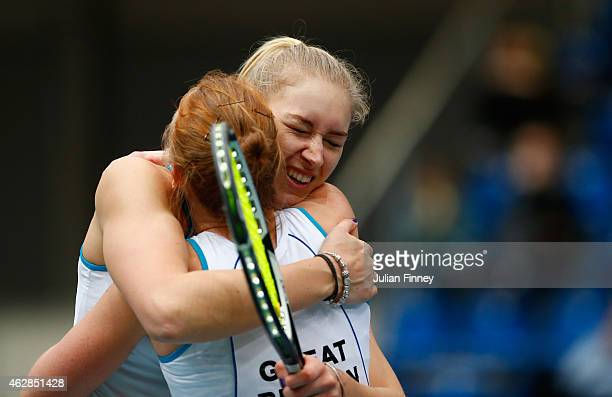 Anna Smith and Jocelyn Rae of Great Britain celebrate defeating Elina Svitolina and Olga Savchuk of Ukraine in the doubles during day three of the...