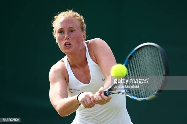 Anna Smith of Great Britain plays a backhand during the Men's Doubles third round match against Aisam Qureshi of Pakistan and Yaroslava Shvedova of...