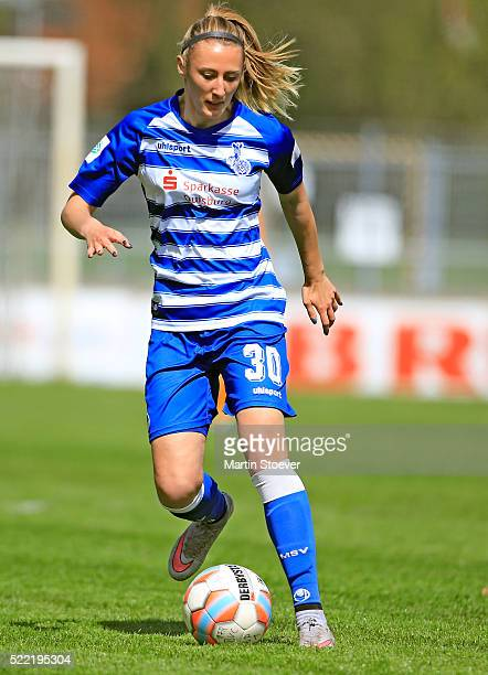 Anna Sophie Fliege of Duisburg plays the ball during the Women's 2nd Bundesliga match between BV Cloppenburg and MSV Duisburg on April 17 2016 in...
