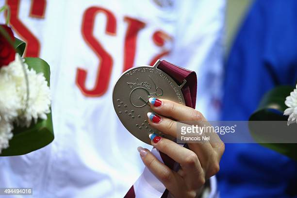 Anna Sorokina of Russia poses with her silver medal after the women's javelin F13 during the Evening Session on Day Six of the IPC Athletics World...