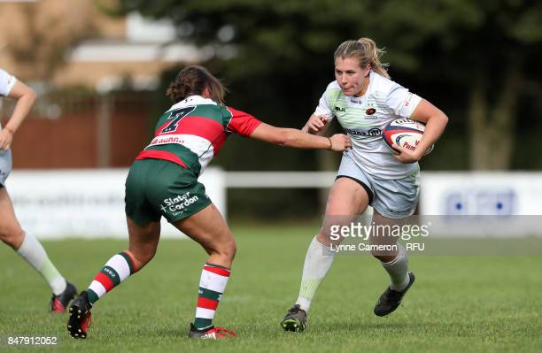 Anna Stodter of Saracens Women and Claire Hutchinson of Firwood Waterloo Ladies during the Tyrrells Premier 15 at The Memorial Ground on September 16...