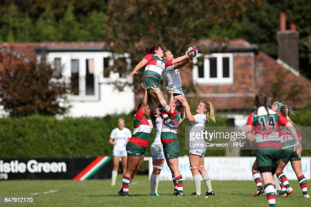 Anna Stodter of Saracens Women and Srah Beckett of Firwood Waterloo Ladies challenge for a line out during the Tyrrells Premier 15 at The Memorial...