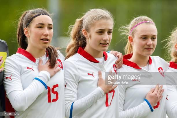 Anna Subrtova Anita Ajazi and Aneta Buryanova of Czech Republic line up during the national anthem prior to the Under 15 girls international friendly...