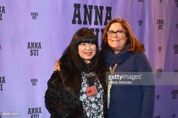 Anna Sui and Fern Mallis pose backstage at Anna Sui Fall/Winter 2017 Show during New York Fashion Week The Shows on February 15 2017 in New York City