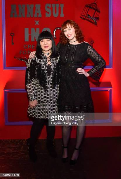 Anna Sui and Karen Elson attend the Anna Sui x INC International Concepts Launch Party at Heath at the McKittrick Hotel on September 6 2017 in New...