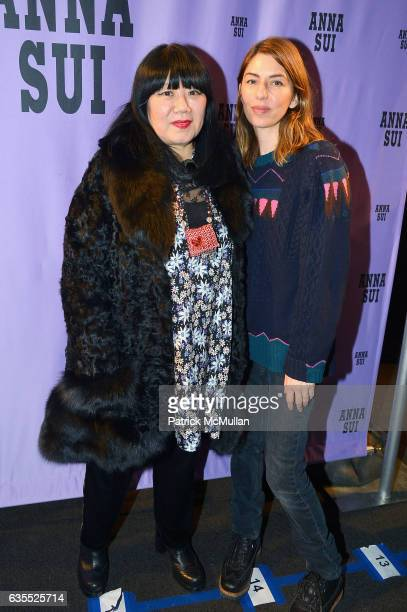 Anna Sui and Sofia Coppola pose backstage at Anna Sui Fall/Winter 2017 Show during New York Fashion Week The Shows on February 15 2017 in New York...