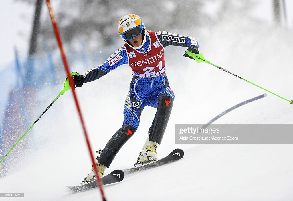 Anna Swen-Larsson of Sweden competes during the Audi FIS Alpine Ski World Cup Women's Slalom on November 10, 2012 in Levi, Finland.