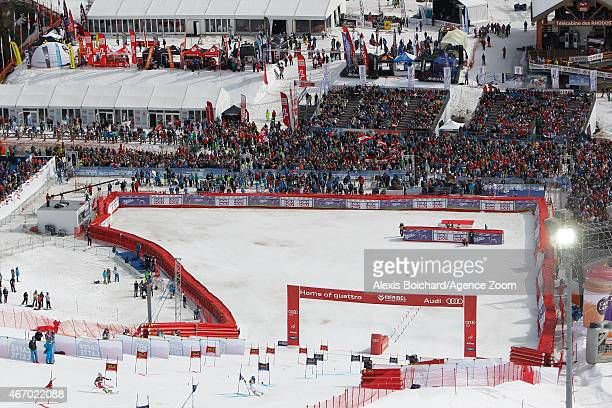 Anna SwennLarsson of Sweden competes against EvaMaria Brem of Austria during the Audi FIS Alpine Ski World Cup Finals Nations Team Event on March 20...