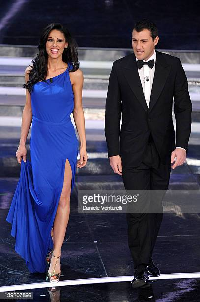 Anna Tatangelo and Christian Vieri attend the fourth day of the 62th Sanremo Song Festival at the Ariston Theatre on February 17 2012 in SANREMO Italy