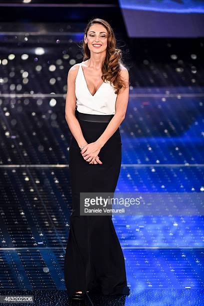 Anna Tatangelo attends second night 65th Festival di Sanremo 2015 at Teatro Ariston on February 11 2015 in Sanremo Italy