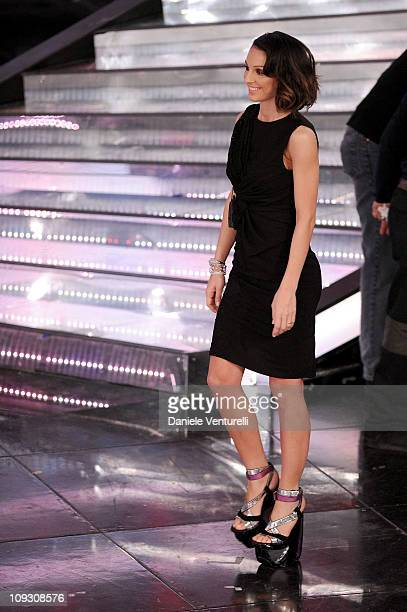 Anna Tatangelo attends the 61th Sanremo Song Festival at the Ariston Theatre on February 17 2011 in San Remo Italy