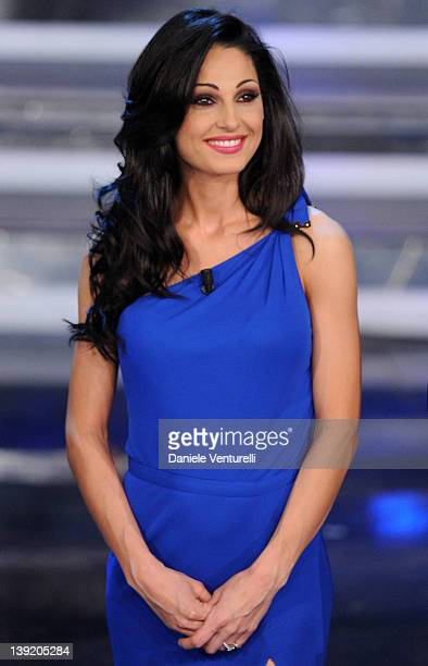 Anna Tatangelo attends the fourth day of the 62th Sanremo Song Festival at the Ariston Theatre on February 17 2012 in SANREMO Italy