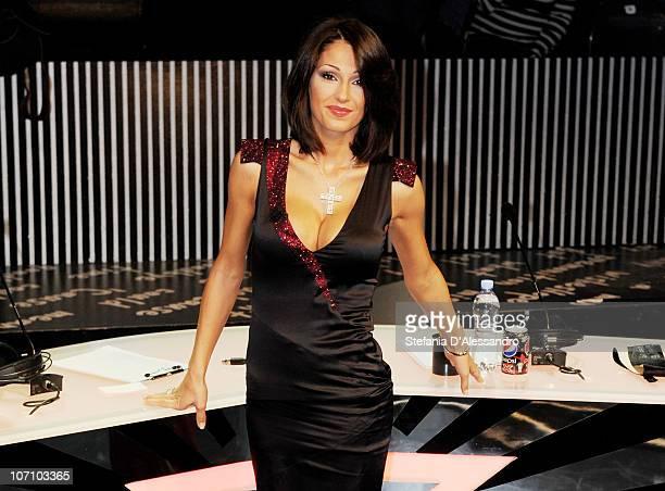 Anna Tatangelo attends 'X Factor' Italian TV Show Final on November 23 2010 in Milan Italy