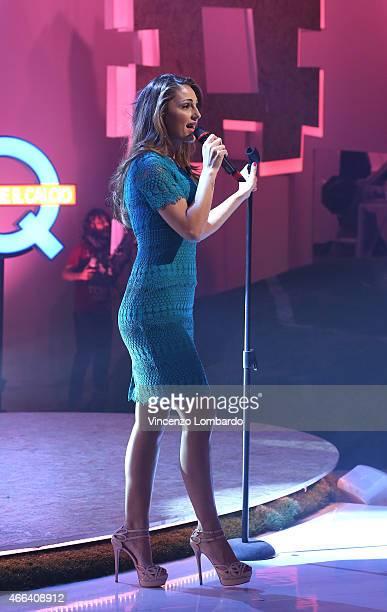 Anna Tatangelo performs at 'Quelli Che Il Calcio' Tv Show on March 15 2015 in Milan Italy