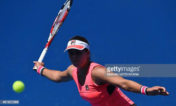 Anna Tatishvili of the US returns against Timea Bacsinszky of switzerland during their women's singles match on day four of the 2015 Australian Open...