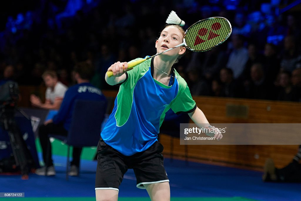 Anna Thea Madsen of Varlose in action during the Danish Badminton Championships YONEX DM 2016 - Semifinals at Arhus Stadionhal on February 6, 2016 in Arhus, Denmark.
