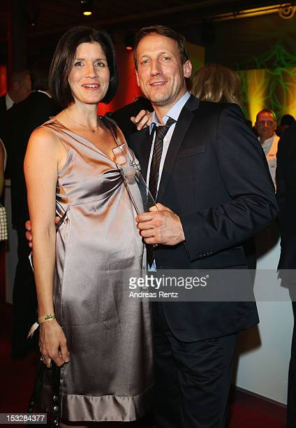 Anna Theis and Wotan Wilke Moehring with his award attend the German TV Award party 2012 at Coloneum on October 2 2012 in Cologne Germany