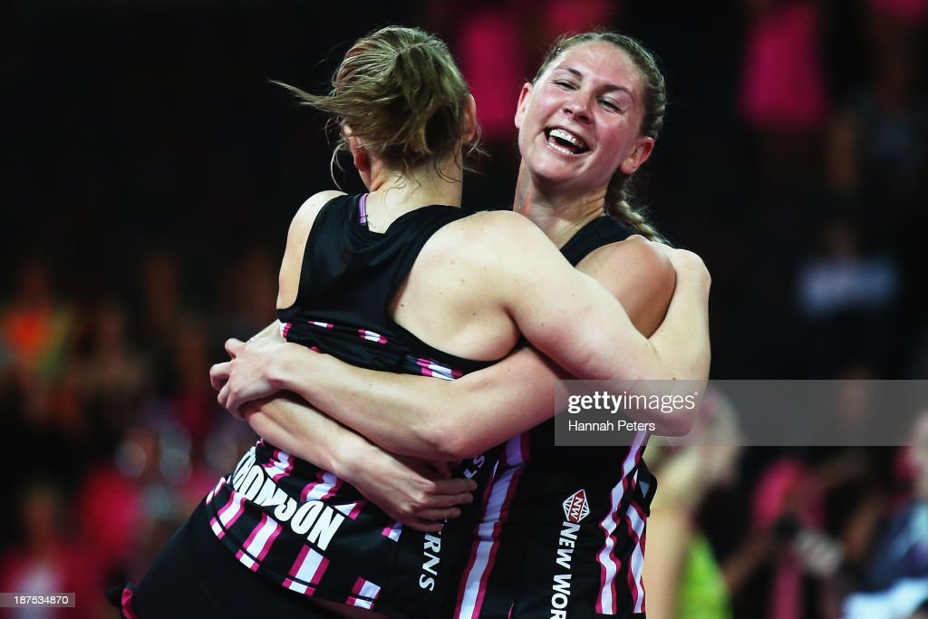 Anna Thompson and Casey Kopua of New Zealand celebrate after winning the final match between New Zealand and Australia on day three of the Fast5 Netball World Series at Vector Arena on November 10, 2013 in Auckland, New Zealand.