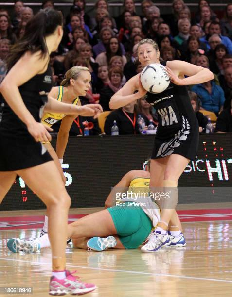 Anna Thompson of New Zealand claims the ball despite Madison Browne of Australia hitting the ground during game one of the Constellation Cup series...