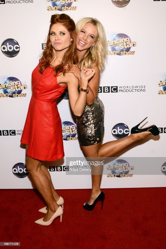 Anna Trebunskaya and Chelsie Hightower arrive at the 'Dancing With The Stars' 300th episode red carpet event on May 14, 2013 in Los Angeles, California.