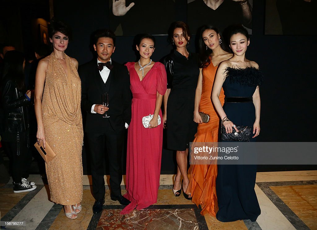 Anna Valle, Su You Peng, Zhang Ziyi, Catrinel Marlon, Qin Shu Pein and Li Xiaoran attend the Bulgari 'Stop Think Give' exhibition preview and cocktail at Palazzo Pecci Blunt on November 15, 2012 in Rome, Italy.