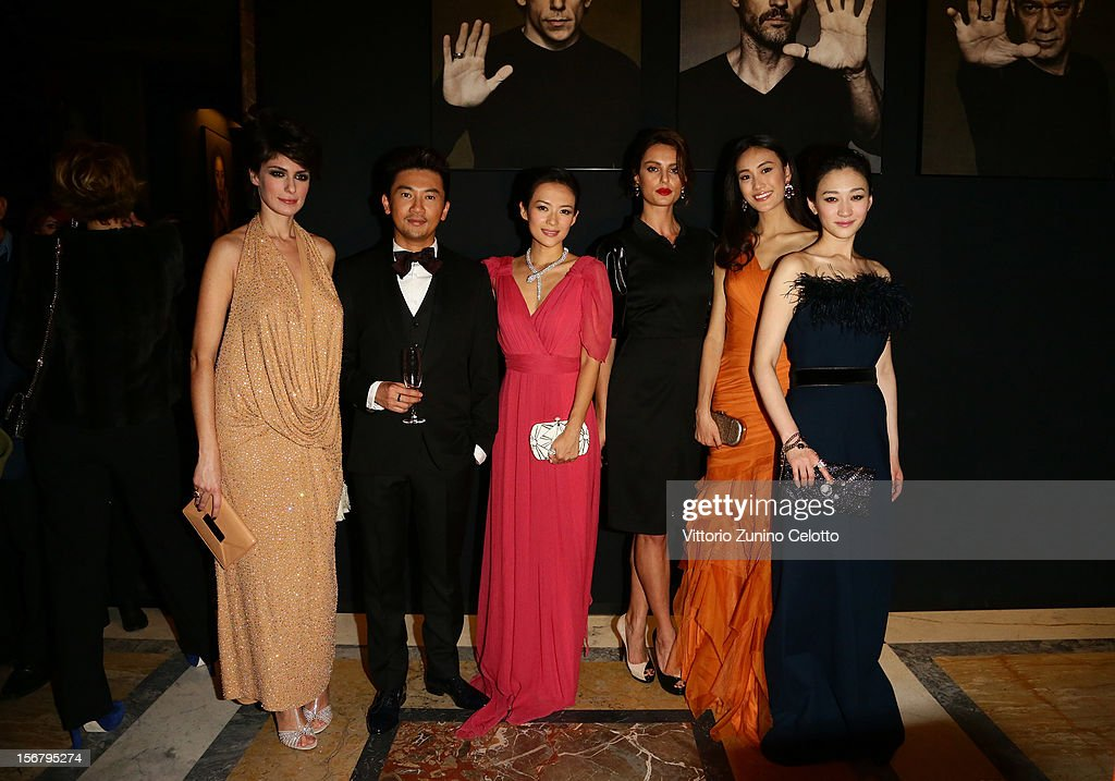 Anna Valle, Su You Peng, Zhang Ziyi, Catrinel Marlon, Qin ShuPei and Li Xiaoran attend the Bulgari 'Stop Think Give' exhibition preview and cocktail at Palazzo Pecci Blunt on November 15, 2012 in Rome, Italy.
