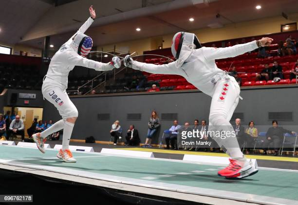 Anna Van Brummen of the USA fences Malinka Hoppe Montanaro of Canada during the gold medal match of the Team Women's Epee event on June 16 2017 at...