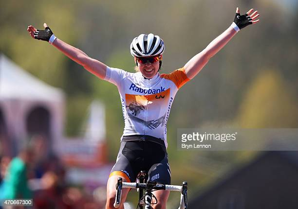 Anna van der Breggen of the Netherlands and Rabo Liv Women Cycling Team celebrates as she wins the 18th La Fleche Wallonne Femmes from Waremme to Huy...