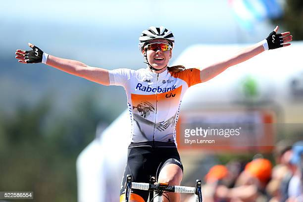 Anna van der Breggen of the Netherlands and RabobankLiv celebrates crossing the finish line to win the 19th Fleche Wallonne women's race on April 20...
