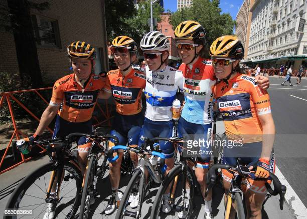 Anna Van Der Breggen of the Netherlands riding for BoelsDolmans Cycling Team celebrates with her team after winning the Amgen Breakaway From Heart...