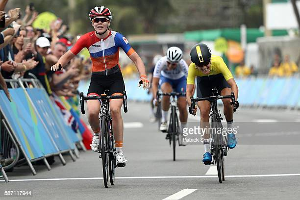 Anna van der Breggen of the Netherlands sprints to win the Women's Road Race on Day 2 of the Rio 2016 Olympic Games at Fort Copacabana on August 7...