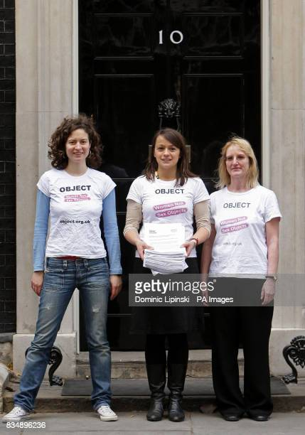 Anna Van Heeswijk Sandrine Leveque and Bernadette Hayes members of the Object Campaign Group hand in a petition to 10 Downing Street calling for...