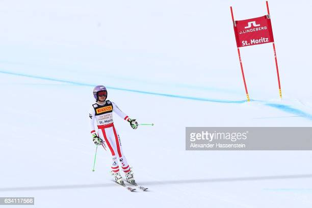Anna Veith of Austria skiis in to the finish during the Women's Super G during the FIS Alpine World Ski Championships on February 7 2017 in St Moritz...