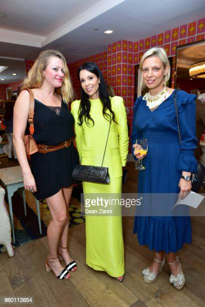 Anna Volkova Sophie Bonvin and Eva Pattel attend the launch of The Collector Geneva's Sophie Bonvin Code Collection in Collaboration with artist Bill...