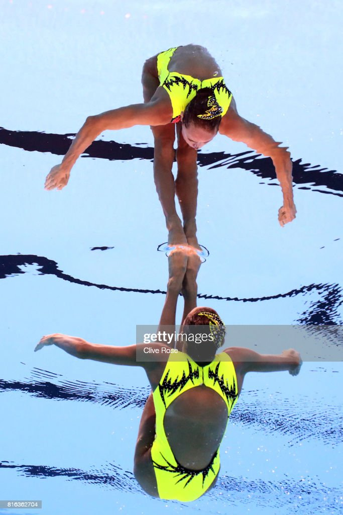 Anna Voloshyna of Ukraine competes during the Synchronised Swimming Solo Free, preliminary round on day four of the Budapest 2017 FINA World Championships on July 17, 2017 in Budapest, Hungary.